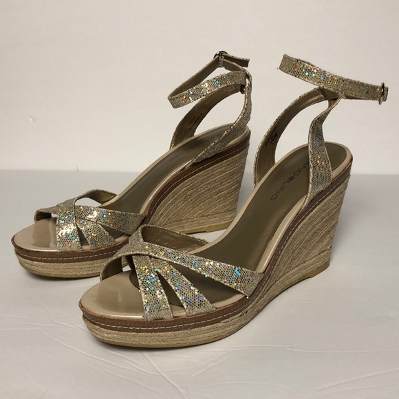 Bandolino Wedge Sandals Sparkly Gold Women s 7 1 2 0e7d8b7fd7